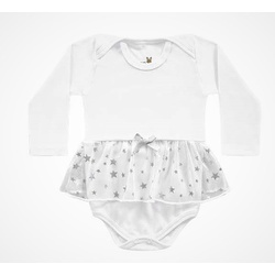 Body Manga Longa Kiko Baby Bebê Feminino Branco co... - Nilza Baby Kids