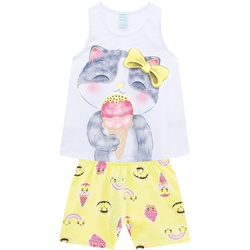 Pijama Kyly Feminino Infantil Estampa Gatinho Tama... - Nilza Baby Kids