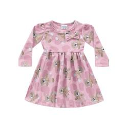 Vestido Manga Longa Fakini Bebê Feminino Ursinhos ... - Nilza Baby Kids