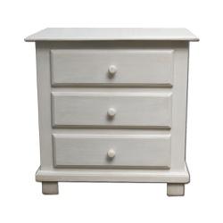 Mesa de cabeceira branca com 3 gavetas - DBV017629 - OFICINADEAGOSTO