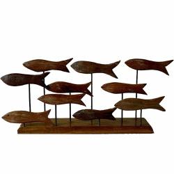 Esculturas Cardume de Peixes na Base - 21000020171... - OFICINADEAGOSTO