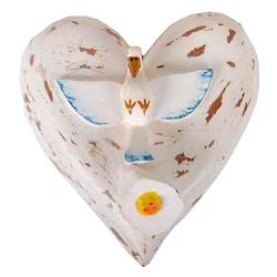 Coração com Divino e Flor em Madeira Pintada - 210... - OFICINADEAGOSTO