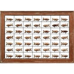 Painel Grade de Peixes com 49 pçs. - Madeira Natur... - OFICINADEAGOSTO