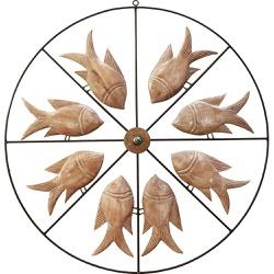 Painel Vazado Mandala com Esculturas de Peixes - D... - OFICINADEAGOSTO