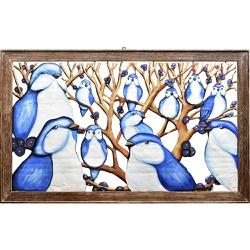 Quadro Vazado Grande de Pássaros Azuis - DBV6276 - OFICINADEAGOSTO