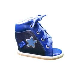 Dennis Brown sapatilha em couro azul marinho e azu... - Orthocalce