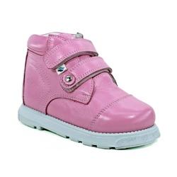 Botinha cano alto 2 velcros em couro rosa bebê - P... - Orthocalce