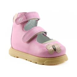 Sapatilha cano alto 2 velcros em couro rosa bebê b... - Orthocalce