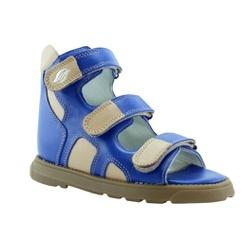 Sandália cano alto 3 velcros em couro azul bic e b... - Orthocalce