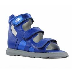 Sandália cano alto 3 velcros em couro azul bic esp... - Orthocalce