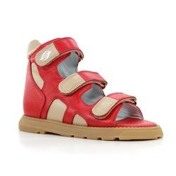 Sandália cano alto 3 velcros em couro vermelho e b... - Orthocalce