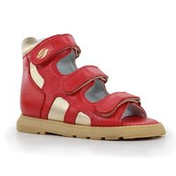 Sandália cano alto 3 velcros em couro vermelho e g... - Orthocalce