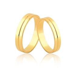 Aliança Fina Noivado e Casamento de Ouro 18k - OV/... - Ouro Vale Joias