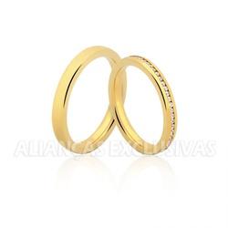 Aliança Fina com Pedras Ouro 18k - OV/1121.z - Ouro Vale Joias