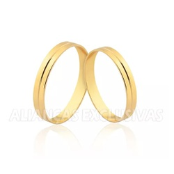 Aliança de Noivado e Casamento em Ouro 18k com Fri... - Ouro Vale Joias