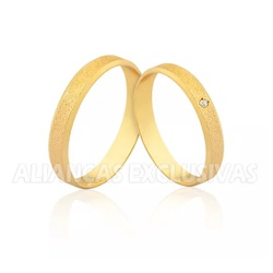 Aliança Fina de Casamento Diamantada - OV/1589 - Ouro Vale Joias
