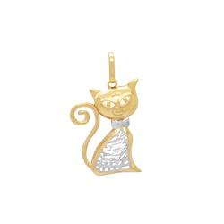 Pingente de Gato em Ouro 18k - OV/P981 - Ouro Vale Joias