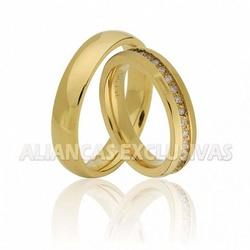 Aliança Fina com Diamantes em Ouro 18k - OV/346 - Ouro Vale Joias