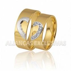 Aliança Coração em Ouro 18k com Diamantes - OV/366... - Ouro Vale Joias