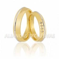 Alianças Bodas de Ouro 18k com Diamantes - OV/434 - Ouro Vale Joias