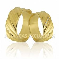Aliança em Ouro 18k Toda Trabalhada - OV/764 - Ouro Vale Joias