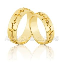 Alianças em Ouro 18k Batimentos Cardíacos - OV/838... - Ouro Vale Joias