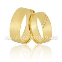 Alianças Escovadas com Diamantes em Ouro 18k - OV/... - Ouro Vale Joias