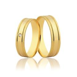 Par de Aliança Reta Diamantada com Diamante em Our... - Ouro Vale Joias