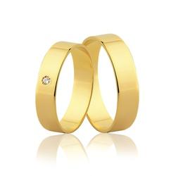 Par de Aliança Reta com Diamante em Ouro 18k - OV/... - Ouro Vale Joias