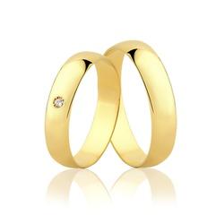 Par de Aliança Tradicional com Diamante em Ouro 10... - Ouro Vale Joias