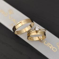 Alianças de Ouro com Anel Solitário Ouro 18k - OV... - Ouro Vale Joias