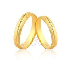 Alianças de Ouro 18K com Diamante - OV/1163 - Ouro Vale Joias
