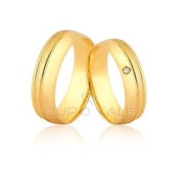Alianças Anatômica com Diamante em Ouro 18k - OV/... - Ouro Vale Joias