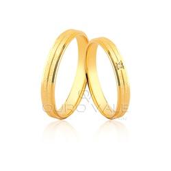 Aliança Fina e Anatômica com Diamante em Ouro 18k ... - Ouro Vale Joias
