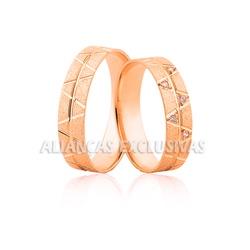 Aliança Rose em Ouro 18k com Diamantes - OV/1168R - Ouro Vale Joias