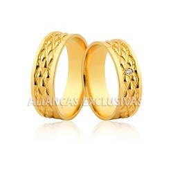 Alianças Grossas de Casamento em Ouro 18k Trabalha... - Ouro Vale Joias