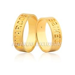Par de Aliança Personalizada Nomes em Ouro 18k - O... - Ouro Vale Joias