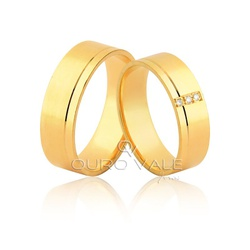 Aliança com 3 Diamantes Exclusiva em Ouro 18k - O... - Ouro Vale Joias