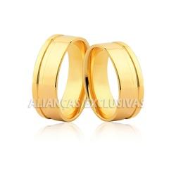 Aliança com Friso em Ouro 18k Grossa - OV/68 - Ouro Vale Joias