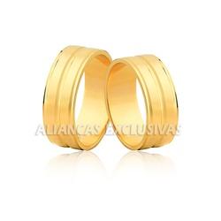 Aliança com Friso em Ouro 18k Anatômica - OV/73 - Ouro Vale Joias