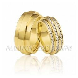 Aliança Exclusiva Com Diamantes em Ouro 18k - OV/... - Ouro Vale Joias