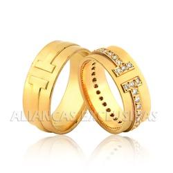 Aliança Grossa com Diamantes Exclusiva Ouro 18k - ... - Ouro Vale Joias