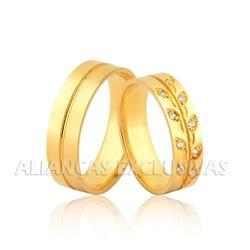 Aliança Personalizada de Ouro 18K com Diamantes - ... - Ouro Vale Joias