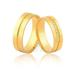 Alianças com Diamantes em Ouro 18k - OV/1056 - Ouro Vale Joias