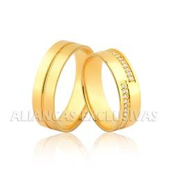 Aliança com Diamantes em Ouro 18k Anatômica - OV/1... - Ouro Vale Joias