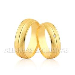 Aliança com Diamante Central em Ouro 18k - OV/1155 - Ouro Vale Joias