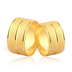 Par de Alianças Largas de Ouro 18k - OV/1158 - Ouro Vale Joias