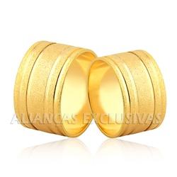 Alianças Largas e com Frisos em Ouro 18k - OV/1159 - Ouro Vale Joias