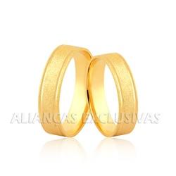Aliança de Ouro de 18k Diamantada com Frisos - OV/... - Ouro Vale Joias