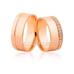 Aliança Rose com Diamantes em Ouro 18k Grossa - OV... - Ouro Vale Joias